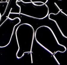 50 Silver Plated Kidney Interchangeable Ear Wire Earrings Hooks 16x8mm