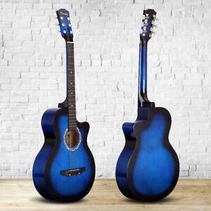 """Bleu Acoustique Classique Guitare 3/4 Taille 38"""" Débutant Adulte Student Chaîne 6 Uk-afficher Le Titre D'origine"""