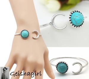 TibetanSilver Turquoise Art DecoAdjustable 7 Inch Bangle Bracelet UK Seller