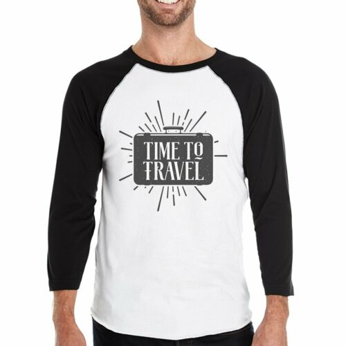 Details about  /Time To Travel Mens Black And White Baseball Shirt