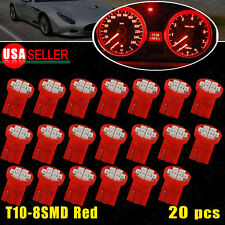 20 X Red T10 Wedge 8-SMD 16mm Dashboard Instrument Panel Light 194 147 152 158