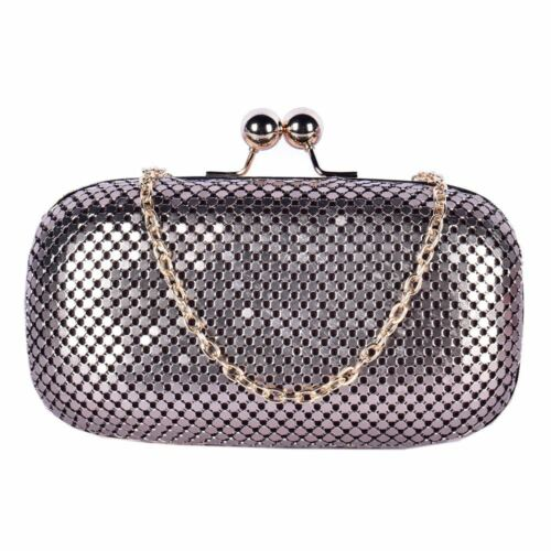 New Women's Hardcase Chainmail Kiss Lock Chain Strap Prom Purse Clutch Bag