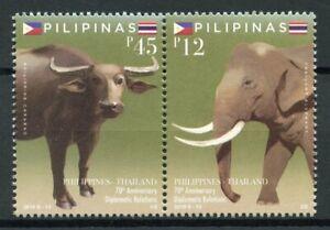 Filippine-2019-Gomma-integra-non-linguellato-diplomatica-Rel-Thailandia-2v-Set-ELEFANTI-ANIMALI