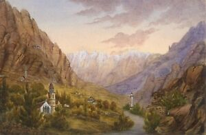 Alpine-View-with-Church-Towers-Original-19th-century-watercolour-painting