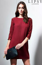 Stunning Lipsy Dark Red Lace Sleeve Size 8 10 Mini Shift Party Evening Dress