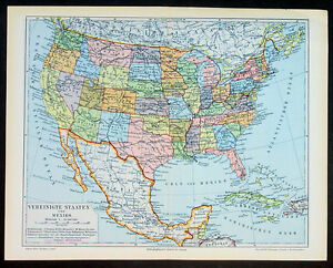 Map Of America Ebay.Details About 1890 Meyer Antique Map Of The United States Of America