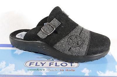 Fly Flot Pantoffel Hausschuhe schwarz/ grau Filz !!!
