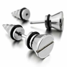 Stainless Steel Stud Earrings Silver Screw Spike Cheater Faux Fake Ear Plugs