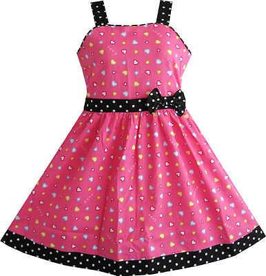 Sunny Fashion Girls Dress Heart Print Pink Children Clothes Size 4-10