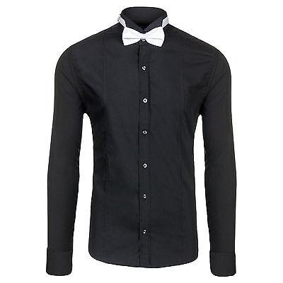 BOLF 4702 Smokinghemd Schwarz Herrenhemd + Fliege + Manchettenkn?pfe 2B2 Hemd