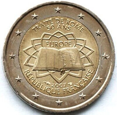 """2007 France 2 Euro Uncirculated UNC Coin /""""Treaty of Rome 50 Years/"""""""