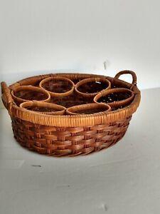 Vintage-Woven-WICKER-6-Bowl-BASKET-2-Tone-Brown-10-034-diameter-x-3-034-high