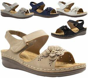 Ladies-Sandals-Womens-Mid-Heel-Comfort-Summer-Beach-Casual-Wear