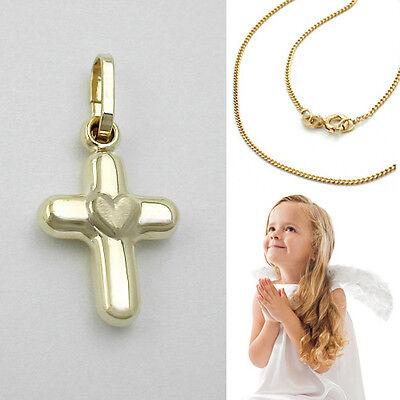 Mädchen Taufe Zirkonia Kreuz Echt Gold 585 14 Kt mit Kette Silber 925 vergoldet