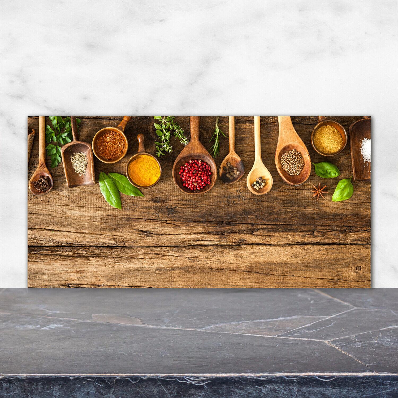 Küchenrückwand Spritzschutz aus Glas 120x60 Deko Essen & Getränke Gewürze Holz