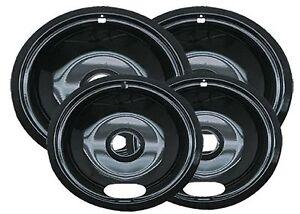 4 Porcelain Electric Stove Replacement Drip Pans Set Bowls