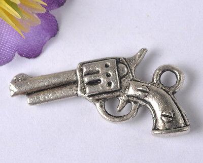 NP154 Wholesale Lots 10pcs Tibetan Silver pistol Charms Pendants 27X15MM