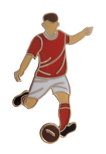 Red & White Football Player Gold Plated Pin Badge
