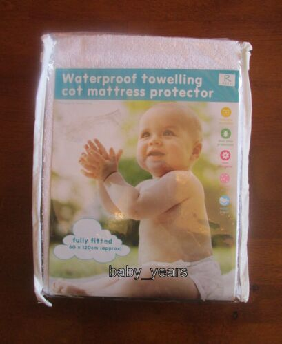 TERRY TOWELLING WATERPROOF FULLY FITTED SHEET COT BED CHILDS MATTRESS PROTECTOR