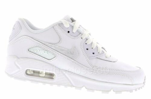 New Nike Air Max 90 Gs All White Grey Leather Juniors Boys Girls Unisex Trainers