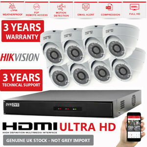 Details about 8CH CCTV Hikvision Turbo HD DVR & 1080P 2 4MP NightVision HD  Camera Security Kit