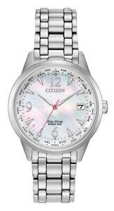 Citizen Eco-Drive Ladies World Time Calendar Silver Tone 36mm Watch FC8000-55D