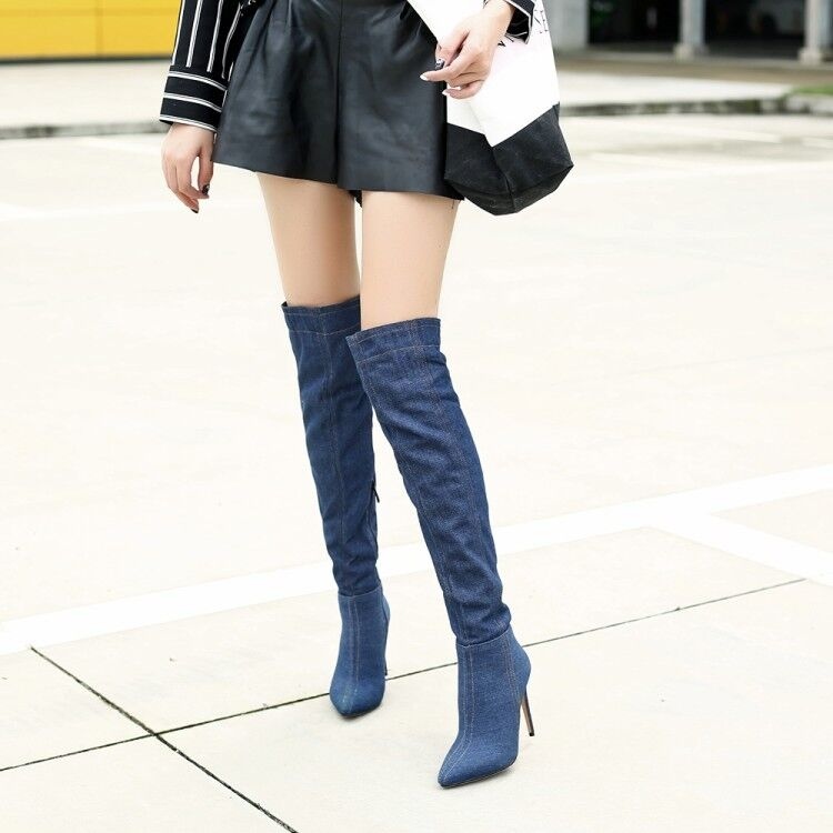 Women's Denim Over Knee Boots High Heels Stilettos Pointed Side Zip Winter shoes