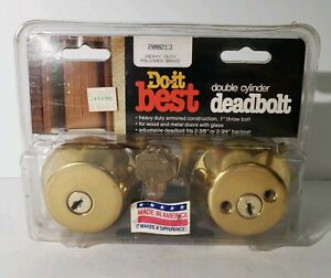 DO-IT-BEST-HARDWARE-Double-Cylinder-Deadbolt-Polished-Brass-NEW-OLD-STOCK