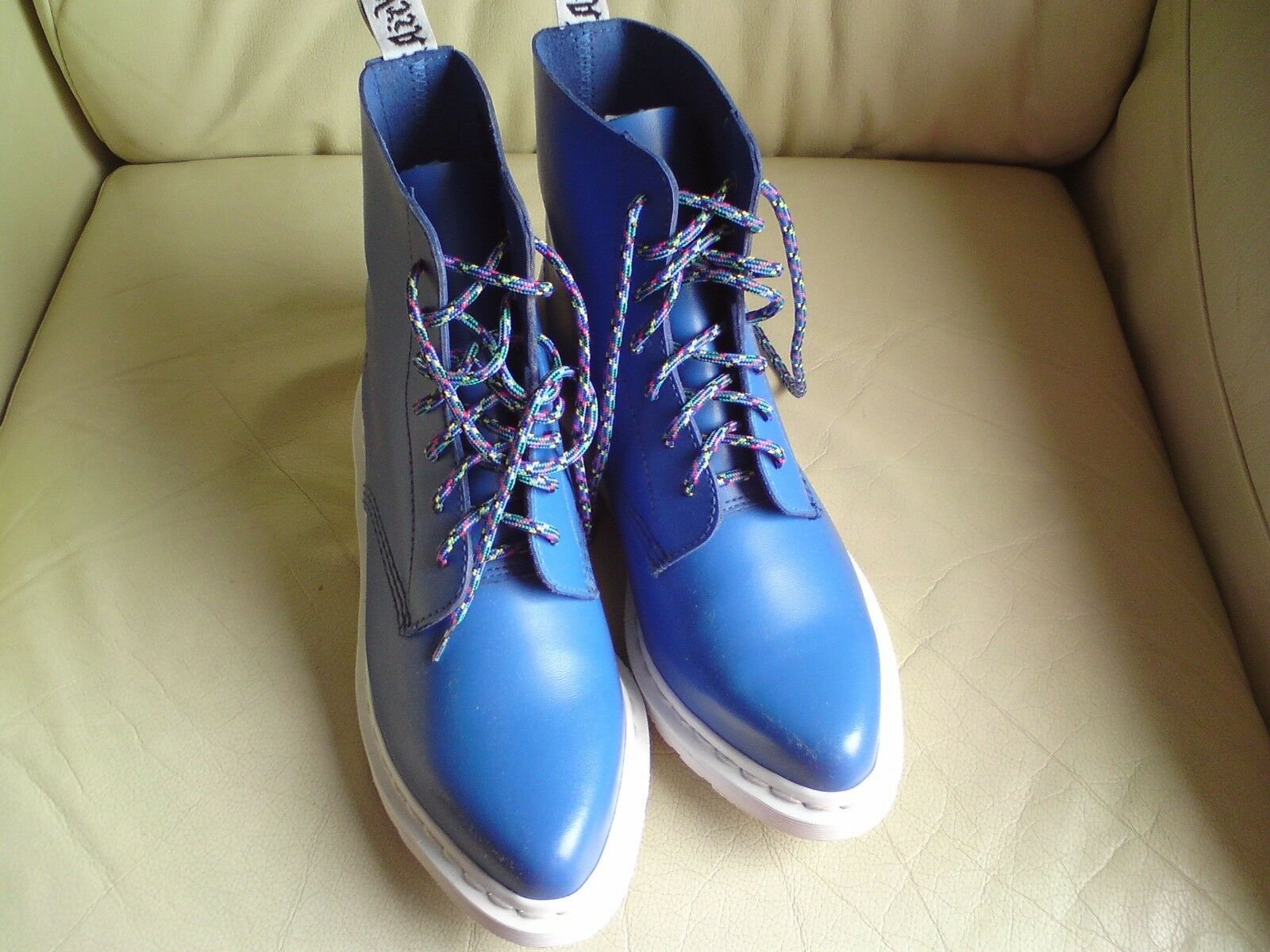 DR MARTENS LADIES blueE BOOTS,EDITH, BOOTS,EDITH, BOOTS,EDITH, SIZE 5 UK, WORN ONCE ONLY, BY JODIE MARSH, 1aa5e9