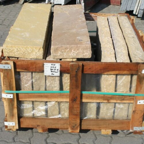 Palisade Sandstein gelb handgespalten ~150x25x7-9cm