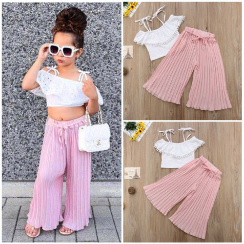 Stripe Lace Kid Toddler Girl Off Shoulder Crop Top Wide Leg Pants Casual Clothes