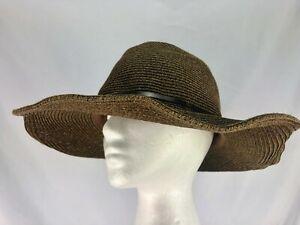 6c48b2f43 Details about Nine West Packable Sun Hat Wide Brim Floppy Brown 1/4