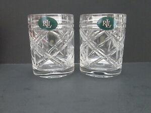 Ralph-Lauren-Crystal-Old-Fashioned-Lowball-Rocks-Whiskey-Glass-Brogan-Pair