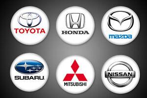 Japanese-Cars-Symbols-Pins-Toyota-Honda-Nissan-Subaru-Mitsubishi-Mazda-Pinback