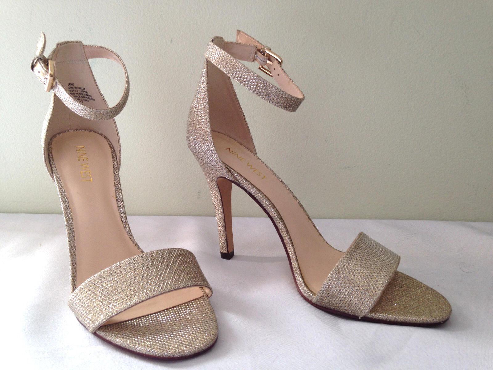 NEW Nine West Gorgeous Gold NW7 AURELIA Heels Ankle Strap Classic Heels AURELIA 8.5 M 135 a54bda