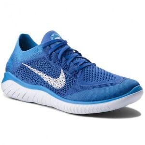 Nike MEN'S Free Run RN Flyknit 2018 Shoe Blue/White 942838-401 Sz ...