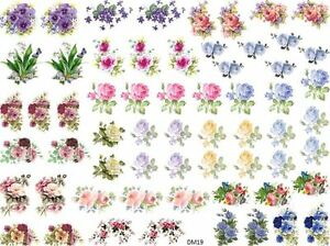 DoLLHouSe MiNiaTureS FLoWeRs RoSeS ShaBby WaTerSLiDe DeCALs Découpage DM19