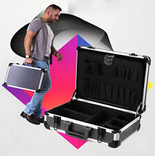 Aluminum Hard Tool Case Flight Carrying Toolbox With Shoulder Strap Dividers