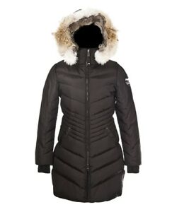L Brooklyn Sz Black Parka Canada Long Coat Pajar S Fur Women qfp5vFnpx4