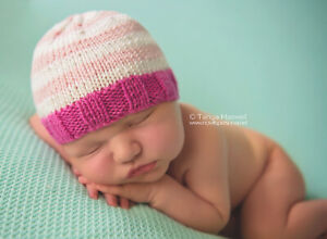 Hand Crochet Stripe New Born Baby Hat