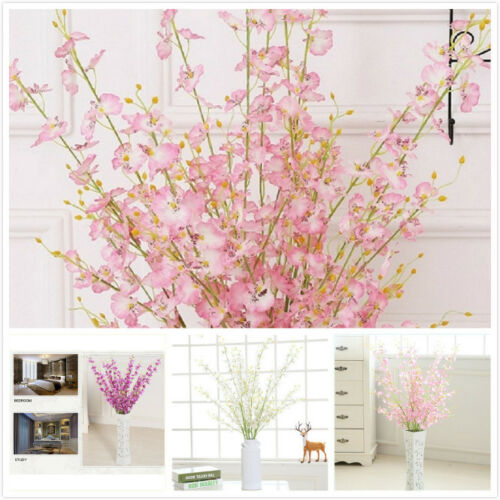 5 Branch Artificial Butterfly Orchids Blossom Branch Fake Silk Flower Plant Top