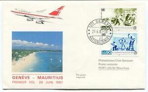 éNergique Ffc 1981 Air Mauritius First Flight Geneve Mauritius Logements Sans Abri Onu