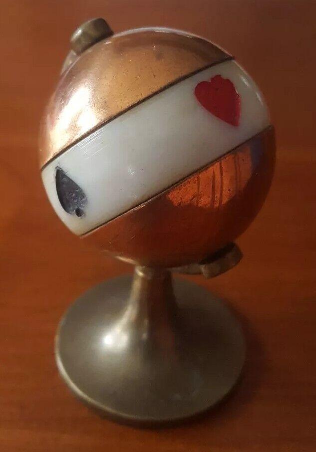 Vintage Brass & Copper World Globe Figural Bridge Trump Marker