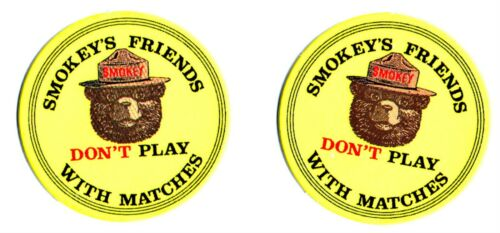 2 SMOKEY BEAR FRIENDS Tokens Two Vtg. Don/'t Play with Matches Collectibles