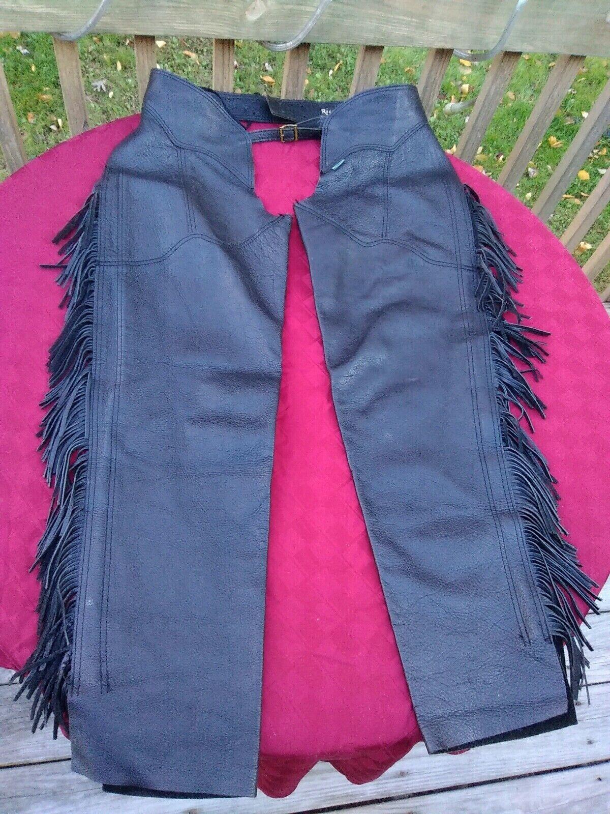 RECTILIGNE schwarz Pebble Leather Chaps w Fringe France damen Größe Sm-Med PreOwned