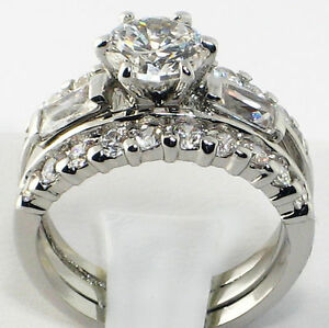 .925 Sterling Silver Wedding Promise Round Baguette CZ 3 PC Ring Band Set