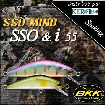 Leurre poisson nageur sinking SSO MINO SSO /& I 55 PAYO 55mm BKK pêche truite