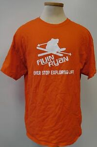 FLYIN-RYAN-SUGARBUSH-NEVER-STOP-EXPLORING-LIFE-ORANGE-T-SHIRT-MENS-SIZE-XL-EUC