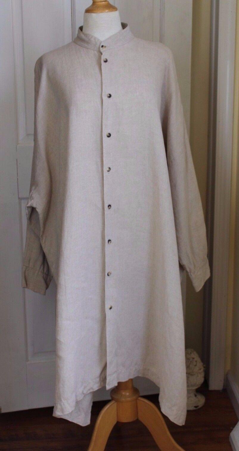 Eskandar Sz 0 Natural Oatmeal Lux Linen Button Down Long Sleeve Tunic Dress Top
