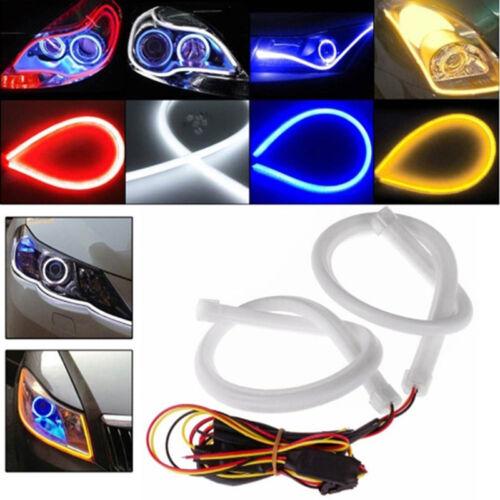 2x80cm Flexible Tube Flowing LED Headlight Daytime Running Stri Light DRL FO